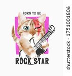 Rock Star Slogan With Cute...