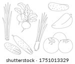 collection of fresh vegetables. ... | Shutterstock .eps vector #1751013329