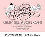 pink wedding invitation card... | Shutterstock .eps vector #175101629