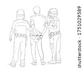 two police officers handcuffed... | Shutterstock .eps vector #1751029589