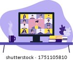 colleagues are talking to each...   Shutterstock .eps vector #1751105810