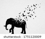 elephant silhouette  flying...   Shutterstock .eps vector #1751120009