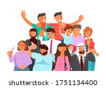 crowd of people banner  age and ...   Shutterstock . vector #1751134400