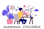 working at home vector flat... | Shutterstock .eps vector #1751135816
