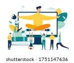 vector illustration  meditation ... | Shutterstock .eps vector #1751147636