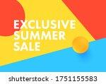 exclusive summer sale banner... | Shutterstock .eps vector #1751155583