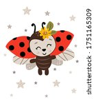 poster with cute ladybug  ... | Shutterstock .eps vector #1751165309