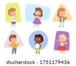 thinking kids. children asking... | Shutterstock .eps vector #1751179436