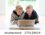 two happy school boys  twin... | Shutterstock . vector #175118414