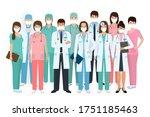 group of doctors and nurses...   Shutterstock . vector #1751185463