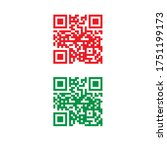 Qr Code In Vector Red And Green ...