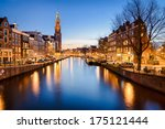 Stock photo the westerkerk church in amsterdam netherlands at night 175121444