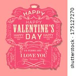 happy valentines day cards with ... | Shutterstock .eps vector #175127270