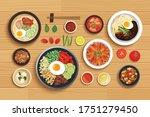 korean food set on top view...   Shutterstock .eps vector #1751279450