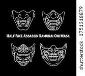 Black And White Oni Mask Drawn...