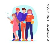 friendship  people take a photo ... | Shutterstock .eps vector #1751337209