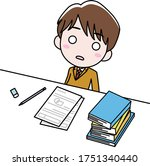 a boy who is at desk but not...   Shutterstock .eps vector #1751340440