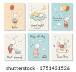 cute cards with little bunny ... | Shutterstock .eps vector #1751431526