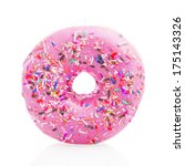 Pink Donut Isolated On White...
