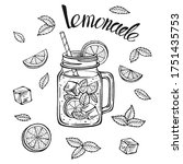 lemonade mug with ice and a...   Shutterstock .eps vector #1751435753