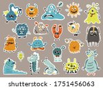 big set of stikers with cute... | Shutterstock .eps vector #1751456063