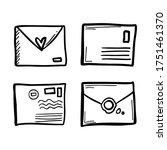 cute stylized doodle envelopes. ... | Shutterstock .eps vector #1751461370