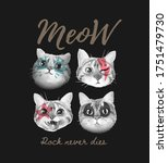 Meow Slogan With Cute Cats Face ...