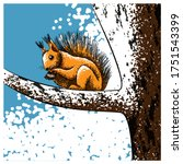 A Squirrel On A Tree Holds A...