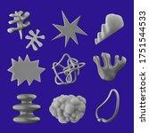 aesthetic 3d shapes set.... | Shutterstock . vector #1751544533