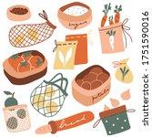 cute zero waste kitchen set.... | Shutterstock .eps vector #1751590016