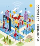 a city internet network with... | Shutterstock .eps vector #175163120