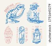 skateboard badges and logo.... | Shutterstock .eps vector #1751645279