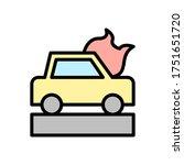 car  fire icon. simple color...