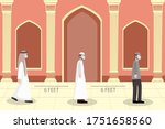 social distancing at mosque.... | Shutterstock .eps vector #1751658560