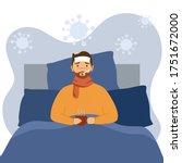 man suffering from flu in bed... | Shutterstock .eps vector #1751672000