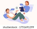 online psychotherapy concept.... | Shutterstock .eps vector #1751691299