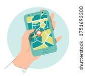 navigation application flat... | Shutterstock .eps vector #1751693300