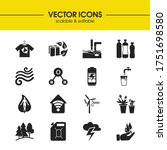 eco icons set with chemical...