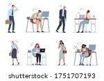 exhausted business man and... | Shutterstock .eps vector #1751707193