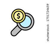 magnifier dollar coin icon....
