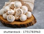 Fresh Champignons On An Old...