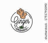 ginger root logo. round linear... | Shutterstock .eps vector #1751792090