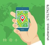 smartphone with map   location... | Shutterstock .eps vector #175179278