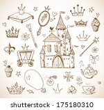 sketches of princess'... | Shutterstock .eps vector #175180310