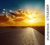 orange sunset over asphalt road | Shutterstock . vector #175182809