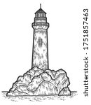 Lighthouse Engraving Vector...