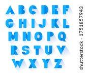 bold blue font. vector alphabet ...   Shutterstock .eps vector #1751857943