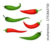 Chilly Pepper Set Isolated On...