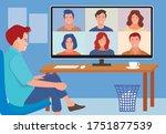 worker using computer for... | Shutterstock .eps vector #1751877539