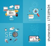 flat concept of seo process.... | Shutterstock .eps vector #175189634